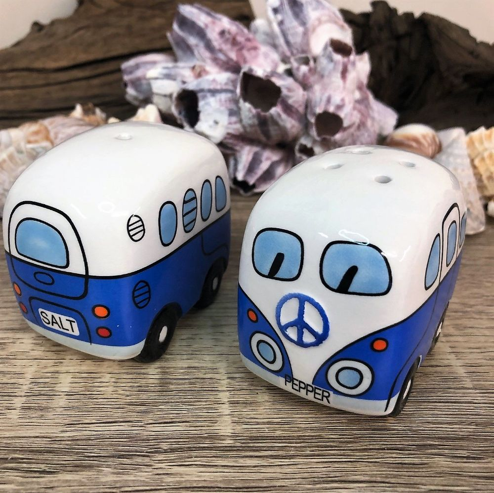 Blue Campervan Salt & Pepper Pots Cruet Set
